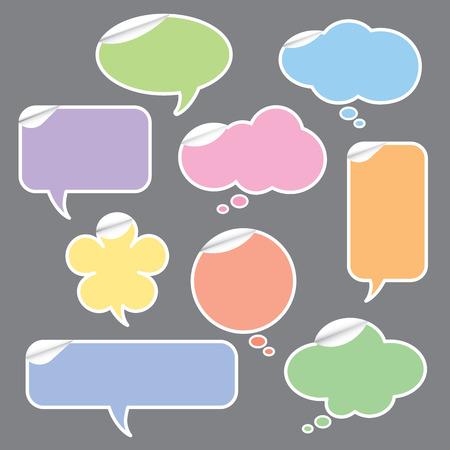 연설 거품과 생각의 그림 거품 스티커