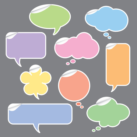 illustration of speech bubble and thought bubbles stickers  Ilustrace