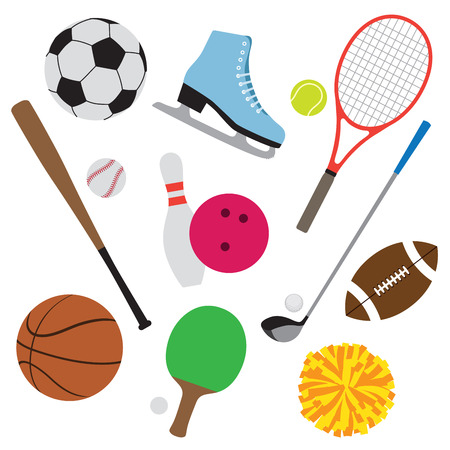 sports equipment: illustration of sport equipment set