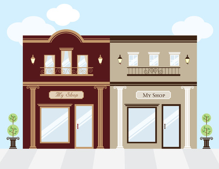 sidewalk sale: Vector illustration of luxury clothing stores  Each store is individually grouped and can be separated easily  Window display can be easily edited if you want to add merchandise to display