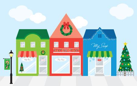 크리스마스 장식 스트립 몰 쇼핑 센터의 벡터 일러스트 레이 션은 각 점포를 개별적으로 그룹화하고 표시 상품을 추가 할 경우 윈도우 디스플레이를