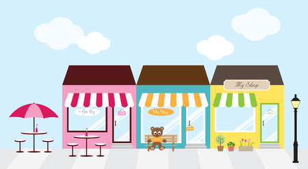shopping sale: illustration of strip mall shopping center