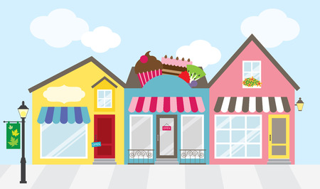 small town: illustration of strip mall shopping center