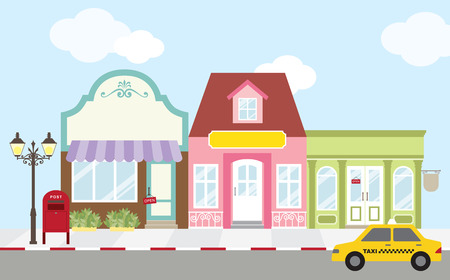 illustration of strip mall shopping center