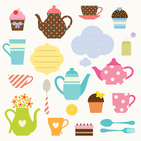 tarde de cafe: Ilustraci�n de conjunto tea party Vectores
