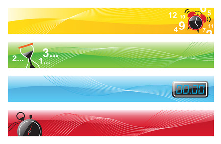 digital clock: Illustration of 4 banner designs with alarm clock, hourglass, digital clock, and stopwatch  Illustration