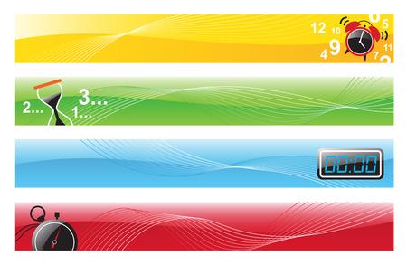 digital clock: Illustration of 4 banner designs with alarm clock, hourglass, digital clock, and stopwatch  Illustration