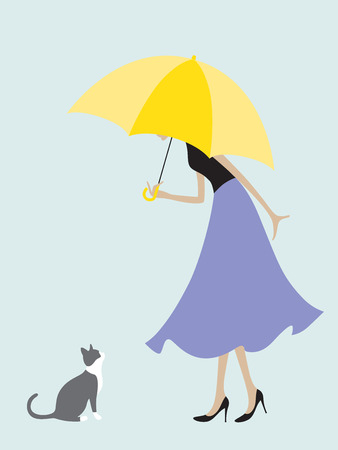 say hello: illustration of a girl under the umbrella stops to say hello to a cat that she meets on the way  Illustration