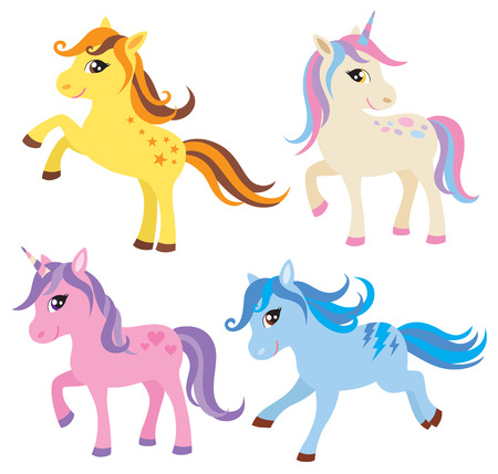 illustration of colorful horse, pony and unicorn  Vector