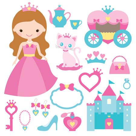 castillos de princesas: Ilustración vectorial de elementos de diseño de la princesa