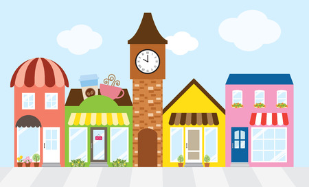 Vector illustration of strip mall shopping center. Çizim