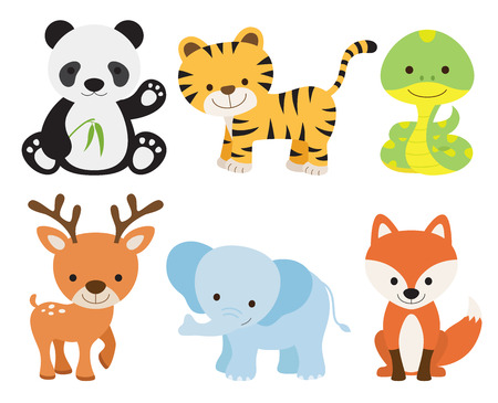 Vector illustration of cute animal set including panda, tiger, deer, elephant, fox, and snake. Çizim