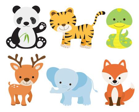 Vector illustration of cute animal set including panda, tiger, deer, elephant, fox, and snake. Vector