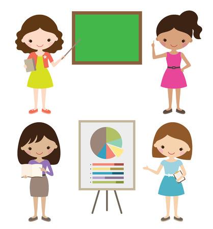 Teacher or businesswoman giving presentation. Vectores