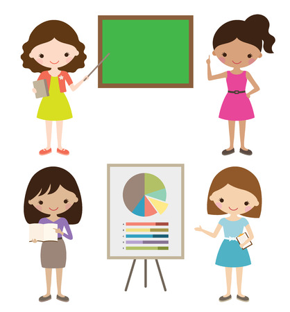 teachers: Teacher or businesswoman giving presentation. Illustration