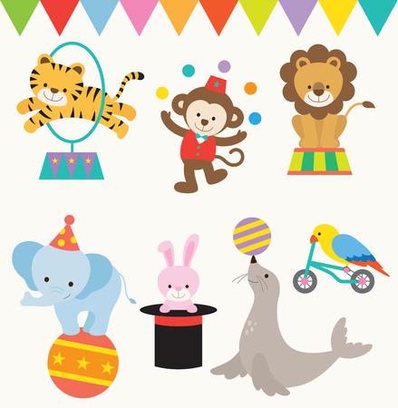zoologico: Ilustraciones vectoriales de animales realizan en el circo.