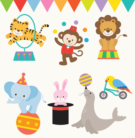 Vector Illustrations of animals perform in circus.