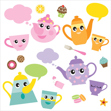 Vector illustration of talking teapots and teacups cartoon characters.