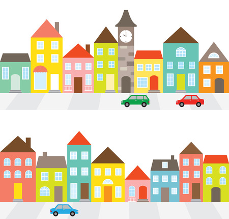 row: illustration of a town scene with row of houses along the street and cars.