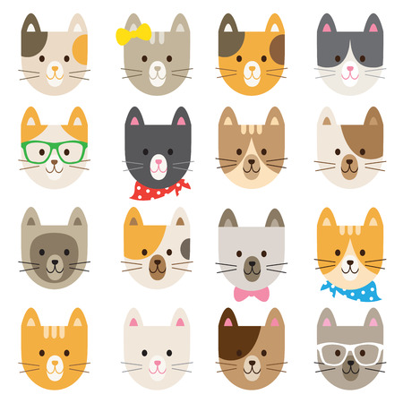 Vector illustration of cats in different colors and patterns.  イラスト・ベクター素材