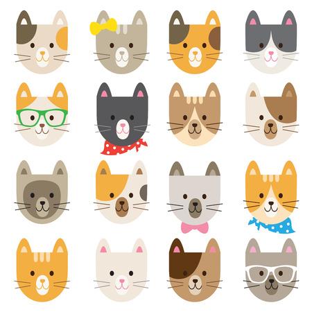 Vector illustratie van katten in verschillende kleuren en patronen.