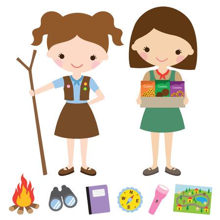 esploratori: Illustrazione vettoriale di ragazze scout e articoli affini.