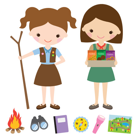 Vector illustration of girl scouts and related items.