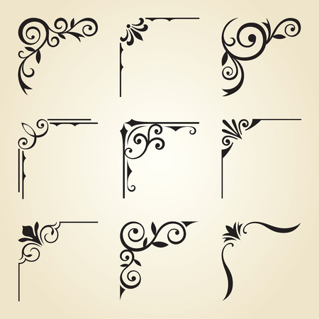 Vector illustration of decorative corner frame set. Vettoriali