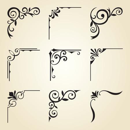 Vector illustration of decorative corner frame set. Illustration