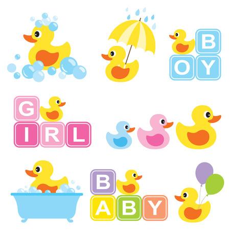 bebes: Ilustración del vector del pato de goma amarillo para baby shower.