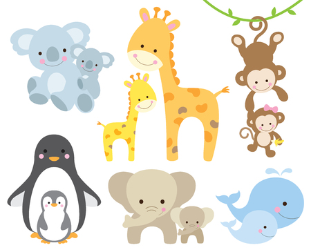 Vector illustration of animal and baby including koalas, penguins, giraffes, monkeys, elephants, whales.