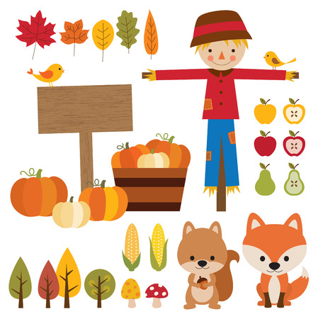 Vector illustrations of fall graphic elements. Illustration