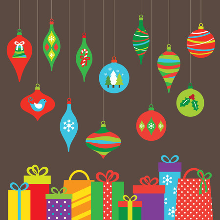 ornaments vector: Vector illustration of Christmas ornaments and gifts.