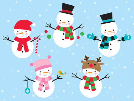 scarves: Vector illustration of snowman dress up in different costumes. Illustration
