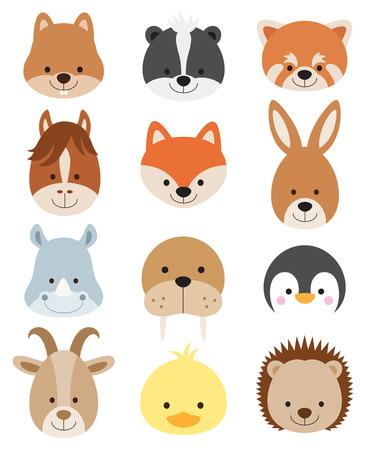 dieren: Vector illustratie van dierlijke gezichten waaronder eekhoorn, hamster, stinkdier, rode panda, paard, vos, kangoeroe, neushoorn, walrussen, pinguïn, geit, eend, en egel.