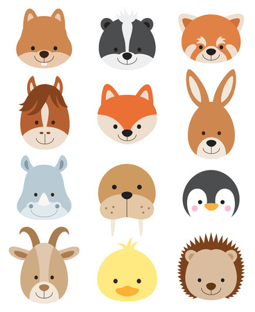 zoo: Vector illustration of animal faces including squirrel, hamster, skunk, red panda, horse, fox, kangaroo, rhino, walrus, penguin, goat, duck, and hedgehog.