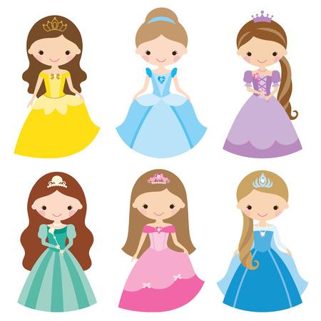 Vector illustration of princess in different costumes. Stock Illustratie