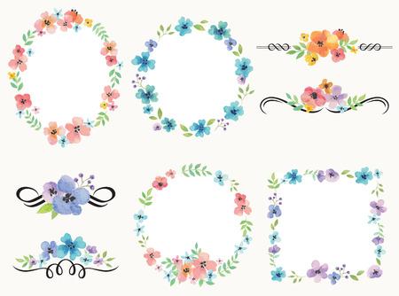Ilustración del vector del marco de la guirnalda de flores y decoración conjunto. Foto de archivo - 51370781