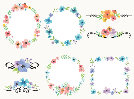 Vector illustration of flower wreath frame and decoration set.