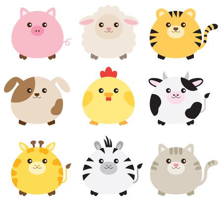 ilustracja zwierząt, w tym świni, owcy, tygrys, pies, kurczak, krowa, żyrafa, zebra i kota.