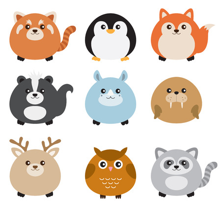 Vector illustration of cute chubby animals including red panda, penguin, fox, skunk, rhino, walrus, deer, owl, and raccoon.