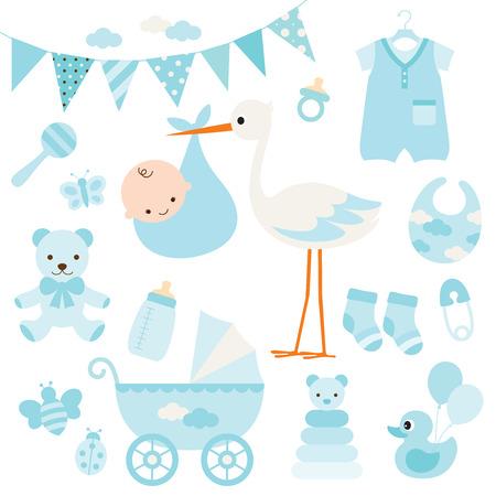 illustration pour la douche de bébé et articles pour bébés.