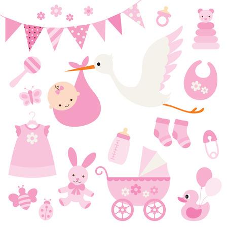 ilustración para la ducha de la niña y artículos para bebés.