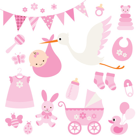illustration for baby girl shower and baby items.