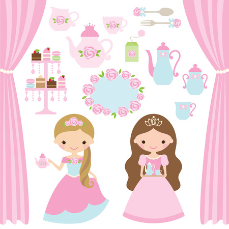 illustration of rose princess tea party theme.