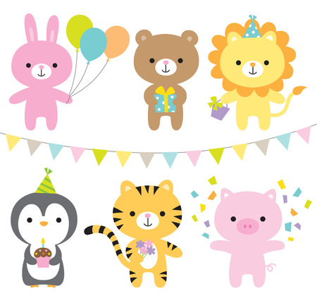 illustration of animals including rabbit, bear, lion, penguin, tiger, and pig at party. Illustration