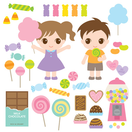illustration of kids and variety of sweet candies such as lollipops, chocolates, hard candies, gummy bears, cookies, cotton candy.