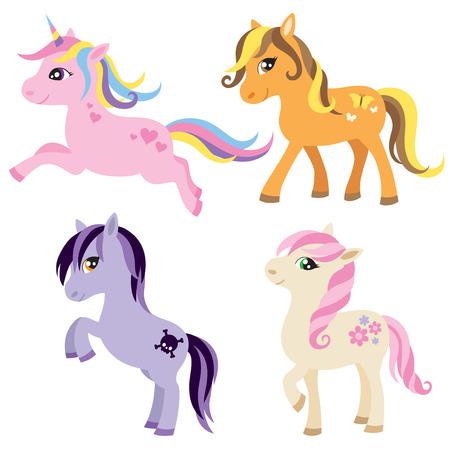 vector illustration du cheval color licorne ou poney - Poney Licorne