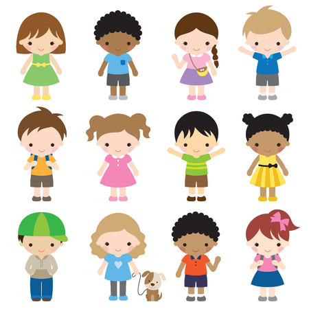 Vector illustration of kid characters in different clothes and poses. Stock Illustratie