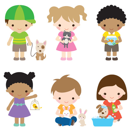 Vector illustration of children with pets including dog, cat, fish, bird, and rabbit.